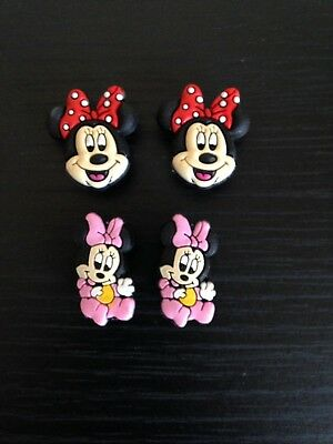 NEW - 4 x Minnie Mouse Jibbitz Charms For Crocs & Wristbands *FREE P & P*