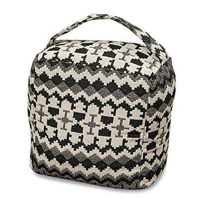 The Eco Lodge Door Stopper, Ikat, Black and White, Cube, Carry Handle, Durable 6