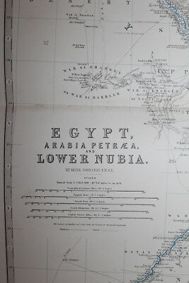 1861 EGYPT Lower NUBIA Keith Johnston Royal Atlas 24 by 19 inches Large