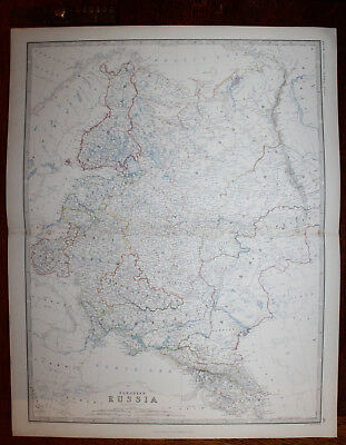 1861 EUROPEAN RUSSIA Keith Johnston Royal Atlas 24 by 19 inches Large