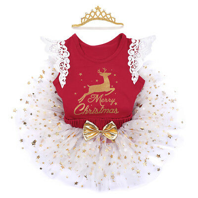Baby Girl Christmas Costume Romper Clothes Fancy Dress Xmas Party 3pcs Outfits