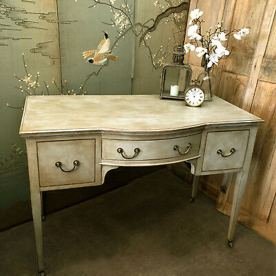 Bow Fronted Vintage Grey Edwardian Dressing Table Desk Basin Base on Casters