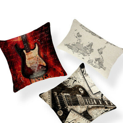 Quirky Music Notes Print Guitar Map Violin Stars Cushion Cover Piano Cojines