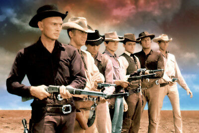 The Magnificent Seven Yul Brynner Steve McQueen cast guns drawn sunset Poster
