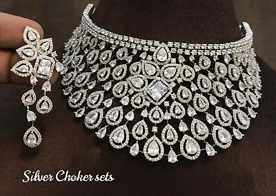 Indian Bollywood Style Cz Ad Wedding Silver Fashion Jewelry Choker