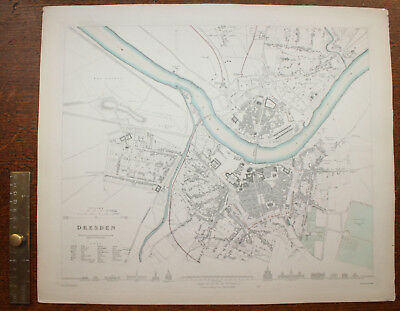 1852 Plan of the City of DRESDEN George COX Original Antique Map Elbe Fluss