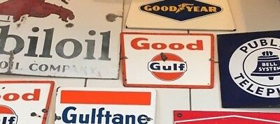 ORIGINAL VINTAGE PORCELAIN SIGN GOOD GULF  not sinclair mobil texaco flying a