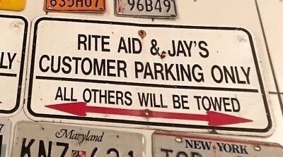 VINTAGE RITE AID DRUG STORE PHARMACY PARKING ARROW SIGN all others will be towed