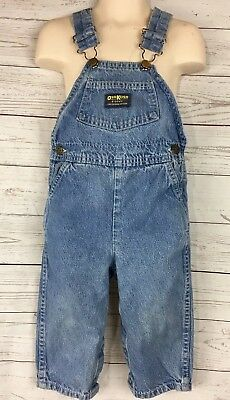 OshKosh Bgosh Baby Vestbak Overall Denim Size 24 months 2T Boy Girl Cotton Snaps