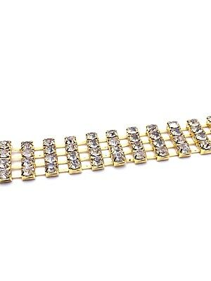 1m Diamante/Rhinestone Crystal 4 row Chain Trim Lace Gold Base China A Quality