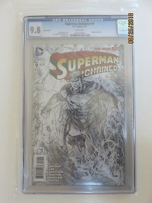 D.C. Comics Variant Cover, SUPERMAN UNCHAINED #9 CGC Univ. Grade 9.8 White Pages