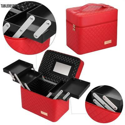 """11"""" Pro Leather Makeup Train Case Travel Cosmetic Organizer Case Jewelry Box US"""