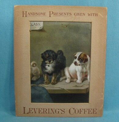 Levering's Coffee EARLY ADVERTISING SIGN -Nice Look w/ PUPPY DOGS - All Original