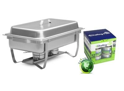 1/1 Stainless Steel Chafing Dish & 12x 2.5hr Non Toxic, Chafing Fuel Gel Cans