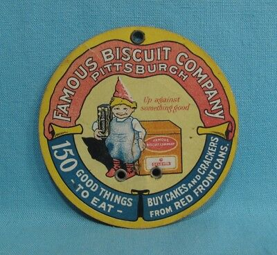 Famous Biscuit Company Cardboard Advertising Bill Hook Sign - Pittsburgh