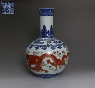 Chinese Old Blue And White Porcelain Dragon Vase With Qianlong Marked 36Cm (512)