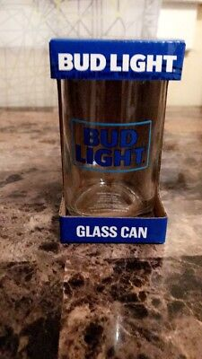 BUD LIGHT BLUE GLASS TUMBLER Beer CAN SHAPED Budweiser mug BRAND NEW