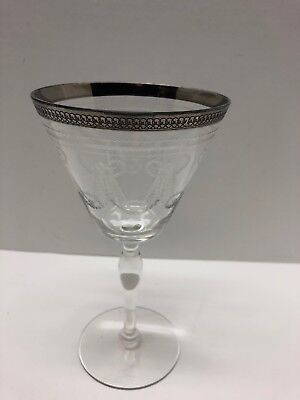 """Antique Silver Rimmed Wine Glass 7.25"""" Etched Glass Water Goblet Art Craft Era"""