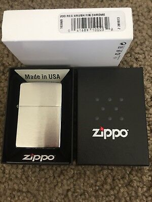 Zippo Classic 200 Brushed Chrome Unisex Lighter--BRAND NEW