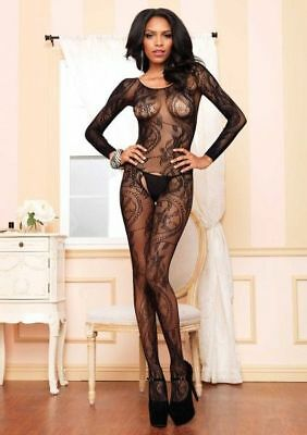 Leg Avenue BODYSTOCKING W LONG SLEEVES OS lingerie catsuit 32891080299