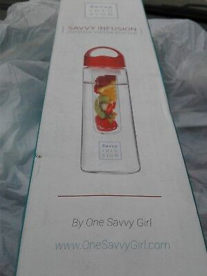 Savvy Infusion Flip Top Fruit Infuser Water Bottle System - 24 Oz Great Gift