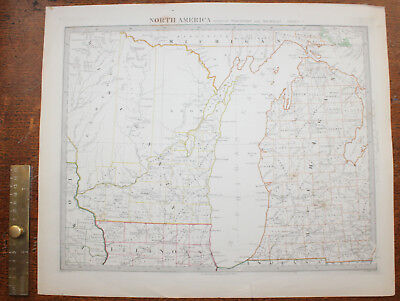 1852 Parts of Wisconsin Michigan Lakes Lake Original Antique MAP Knight