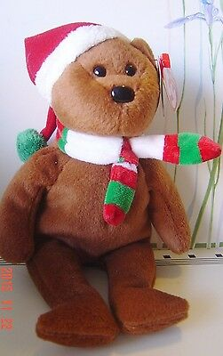 """TY Beanie BABIES MINT RETIRED Holiday 2008 TEDDY Brown BEAR  9"""" Tag COLLECT Gift"""