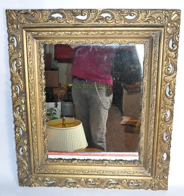 Large Antique Gesso Mirro Gold Tone Wood Frame 30 X26 Victorian