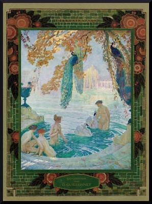 1926 ORIGINAL FRENCH ART DECO PRINT  Naked Bathing Beauties by GUILLONNET (2089)