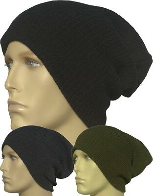 333bb2d24e6 Slouch Baggy Beanie Hat Long Ribbed Warm Black Navy Grey Winter Knitted Mens
