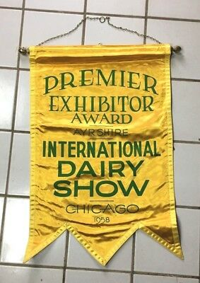 Vintage Ayrshire Cow Dairy Show Award Banner 1958 International Chicago IL Flag