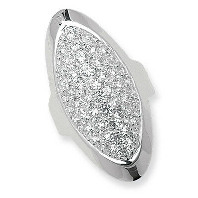 LADIES Silver Large Oval Ring Cubic Zirconia Sterling Silver Cocktail G7239
