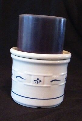 Longaberger Pottery Blue Woven Traditions Candle Crock With Lid / Coaster Candle