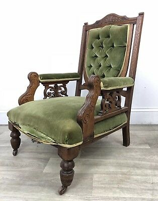 Antique Carved Fireside Chair, Armchair - Reupholstery Restoration Project OR78