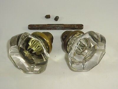 ATQ 8 Point Glass Handle Door Knob Set w Center Rod Architectural Salvage Auc#4