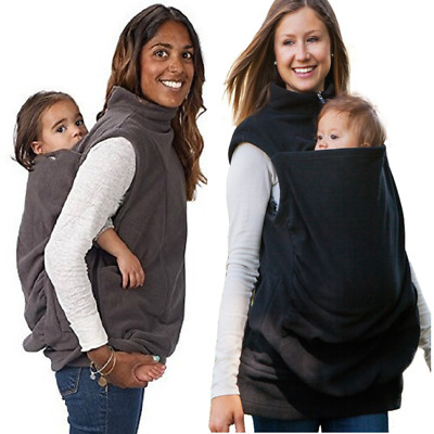 Mom Baby Carrier Coat Kangaroo Sweatshirt Women Sleeveless Jacket Outwear NEW