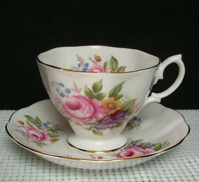 PINK ROSE BOUQUET Royal Albert Bone China TEA CUP & SAUCER Embossed Edge England