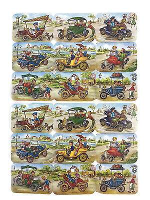 Vintage EAS Germany Die Cut Scraps Ganzbilder Oblaten 3163 Cars Single Sheet