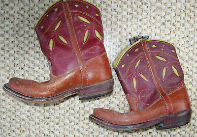 Cute Small Pair Of Vintage Childs Leather Cutwork Cowboy Boots For Western Decor