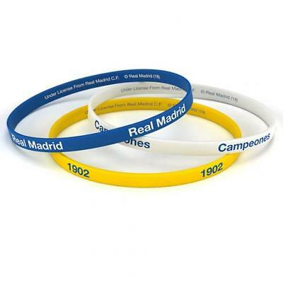 Real Madrid Silicone Wristbands 3 Pack Fan Gift New Official Licensed Product
