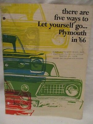 Original '66 Plymouth Dealer Sales Brochure VIP Fury Belvedere Barracuda Valiant
