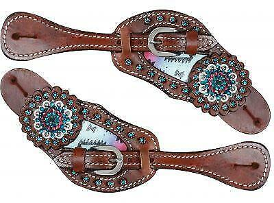 SHOWMAN Pastel Navajo Diamond Print Leather Spur Straps! NEW HORSE TACK!