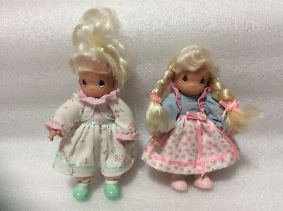 """2 Precious Moments Blonde Dolls Pink Dress 2000 Soft Poseable Body PMI 5 1/2"""""""