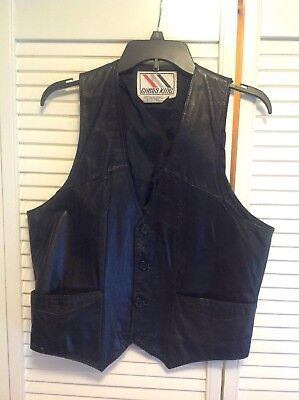 Vintage Chess King Black Leather Vest 70's 80's Mens L EUC Biker Western (RH1)