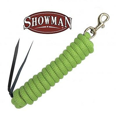 "Showman LIME 5/8"" x 14' Leather End Nylon Horse Training Lead Rope W/ Brass Snap"
