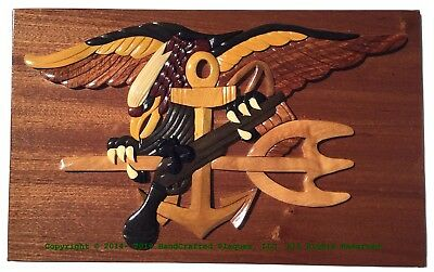 NAVY SEAL TRIDENT PLAQUE - NAVY PLAQUES -  Handcrafted Wood Art Military Plaque