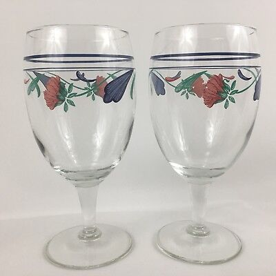 2 Lenox Poppies On Blue Wine Goblets Water Glasses 16 Ounces Set Floral Large