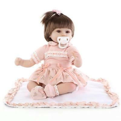 43cm Cute Silicone Reborn Super Baby Lifelike Doll Toddler For Kids Gifts(Pink)