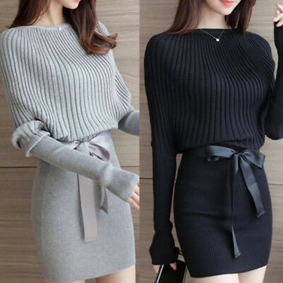 Women Bodycon Knitted Long Sweater Mini Dress Ladies Pullover Jumper Winter Tops