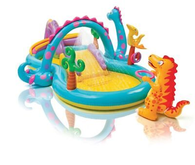 Intex Dinoland Play Center Inflatable Kiddie Spray Wading Pool with Fun Ballz